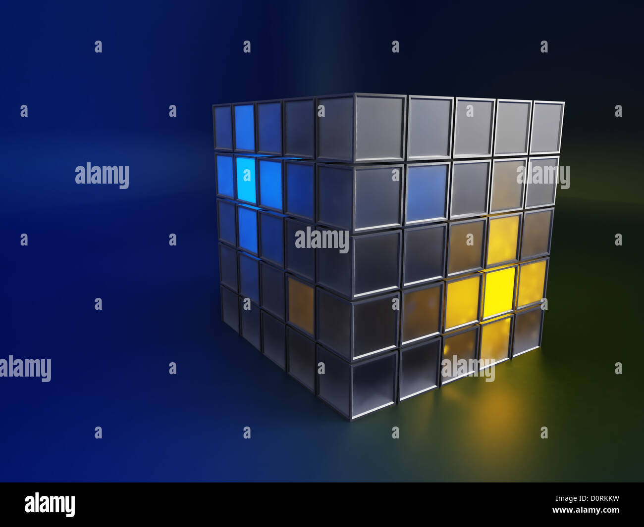 Metallic and glowing boxes - Stock Image