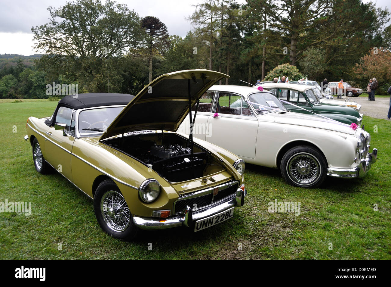 MGB convertible at classic car show rally rhos y gilwen pembrokeshire wales - Stock Image