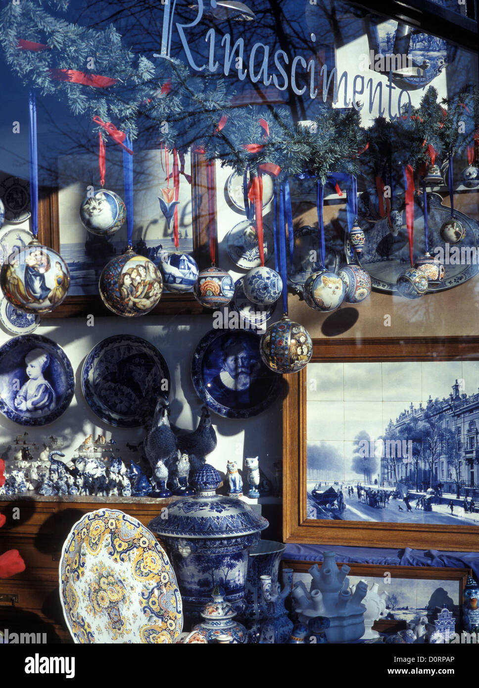 Netherlands, Amsterdam, shop front with Delf ware and other pottery items. - Stock Image