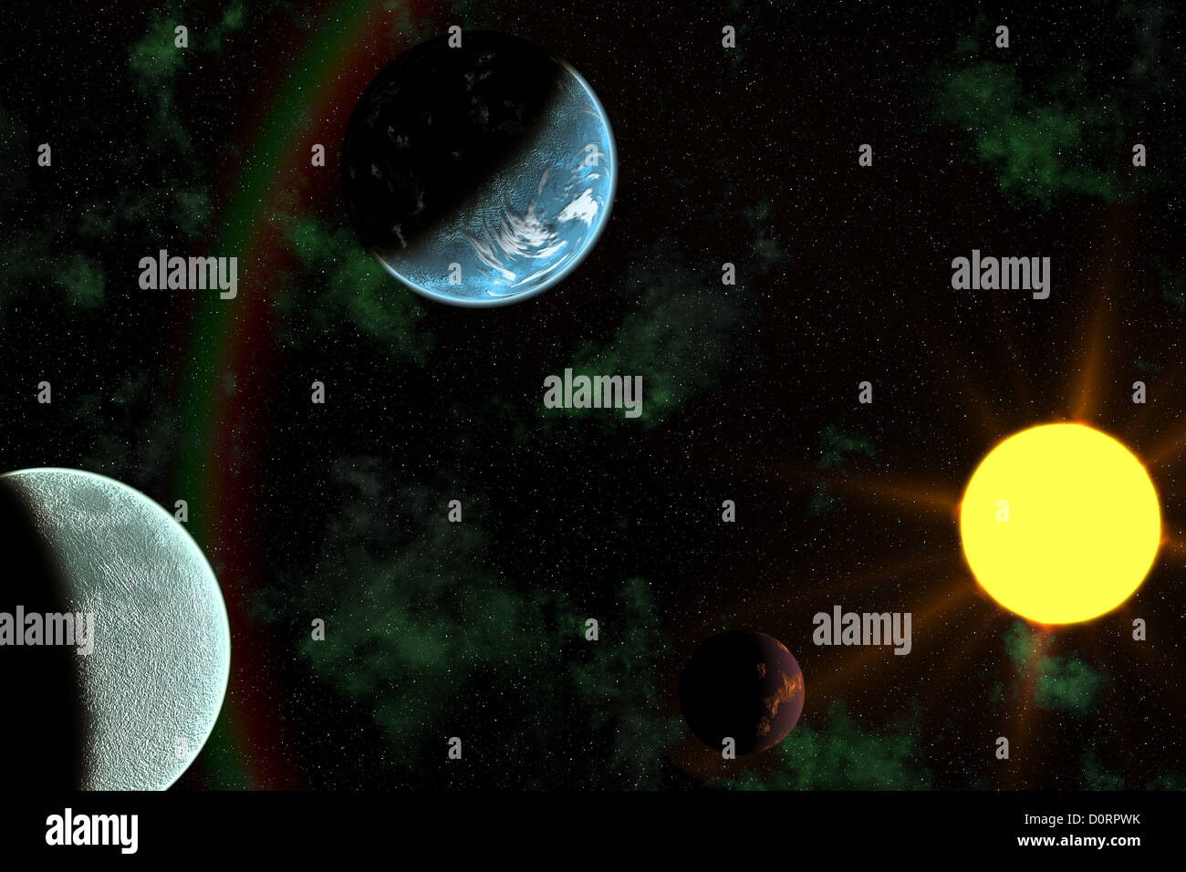 Planets with Sun Flare in Deep Space - Stock Image