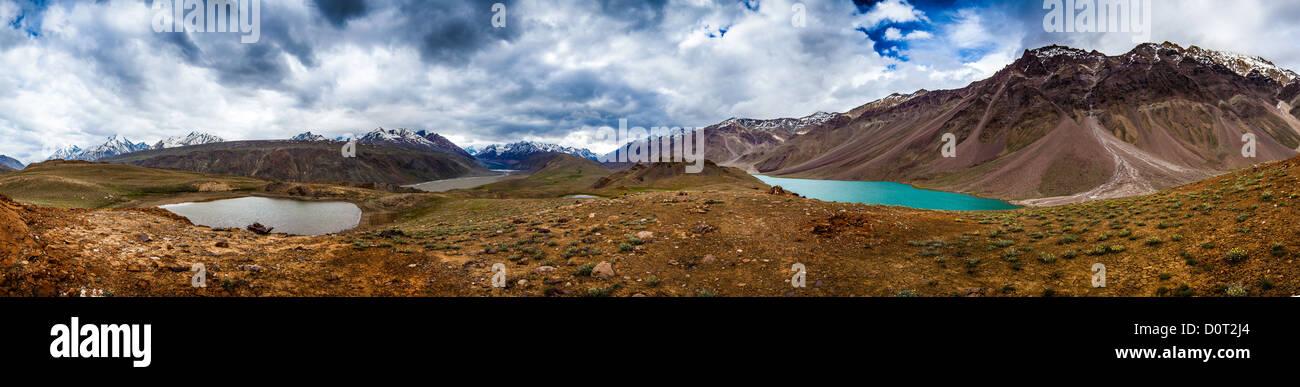 lake Chandra Taal, Spiti Valley panorama - Stock Image