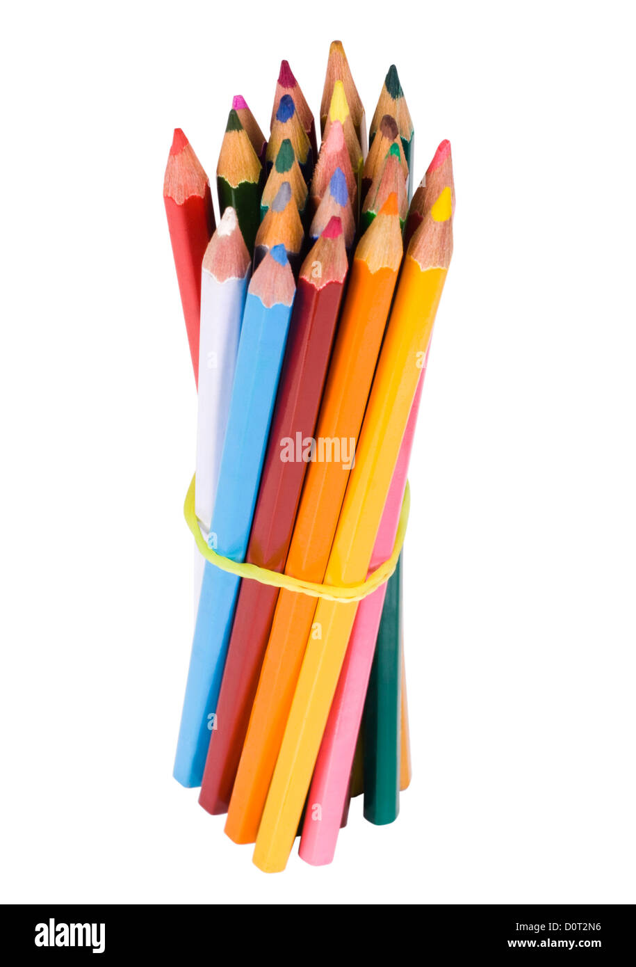 Bundle of colored pencils tied with an elastic band - Stock Image