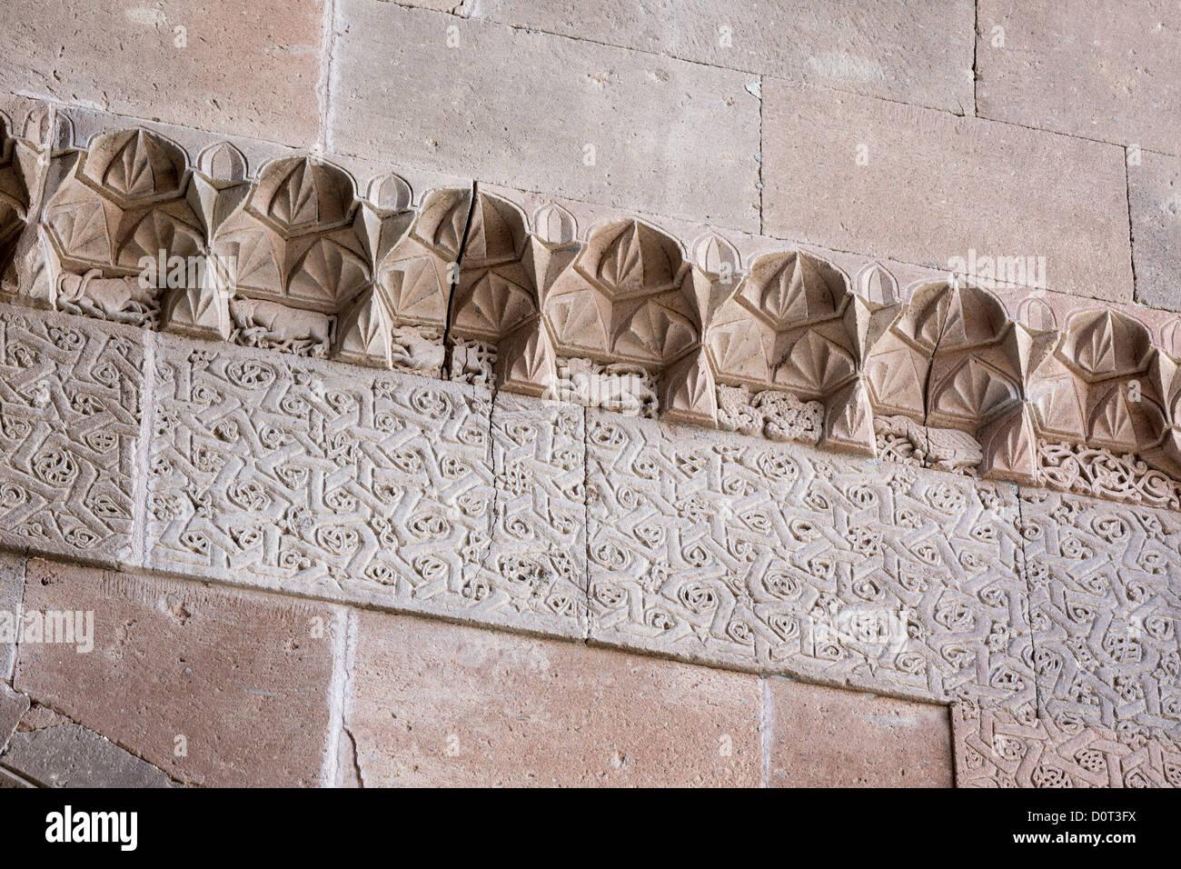 Detail of carvings of animals karatay han sivas malatya road