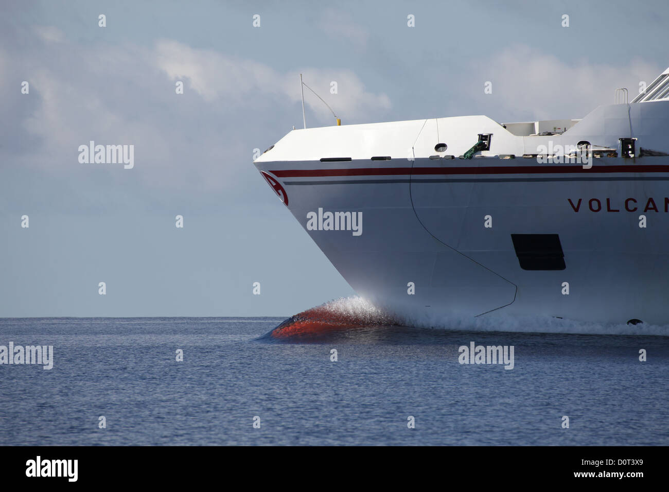 Close-up of the bow keel of the fast speed passenger ferry Volcan de Taburiente, Canary Islands - Stock Image