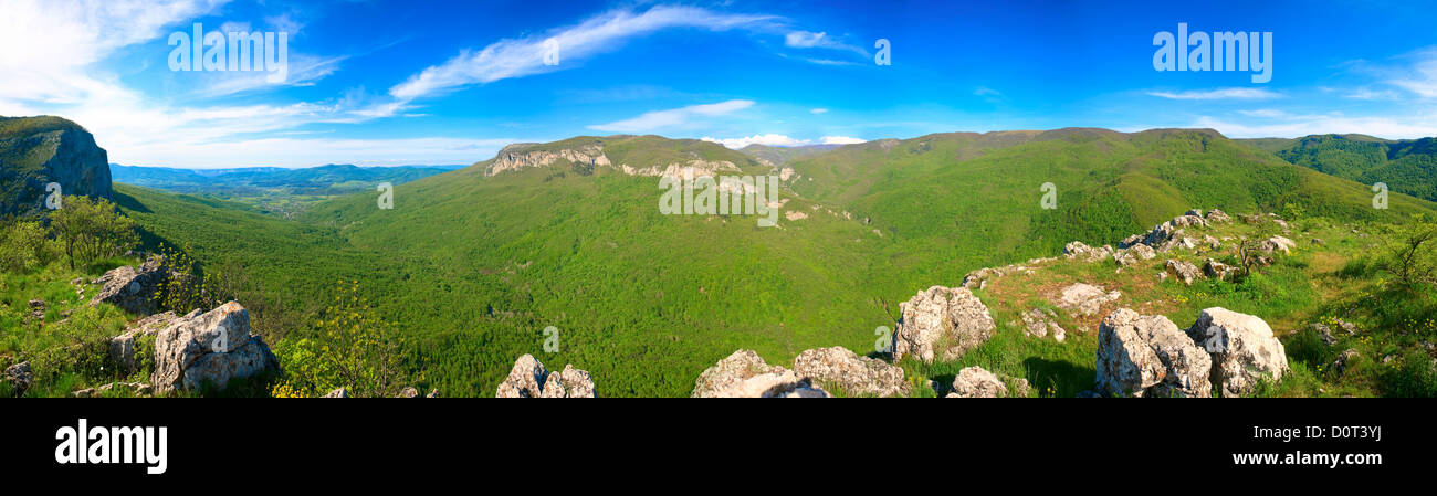 Spring Crimea Mountain country panorama - Stock Image