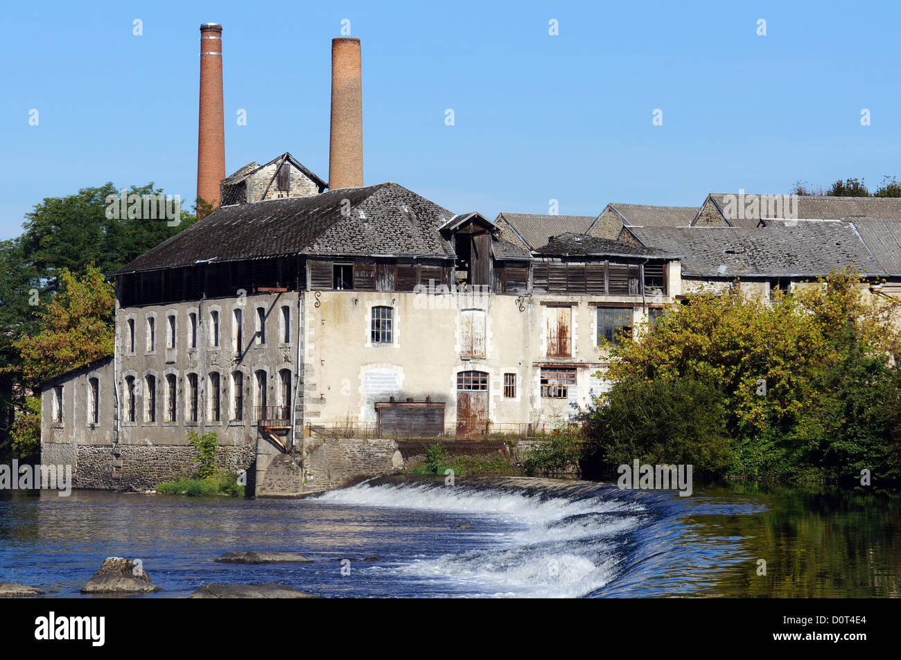 Old tannery along the Vienne River in Saint-Junien, Limousin, France - Stock Image