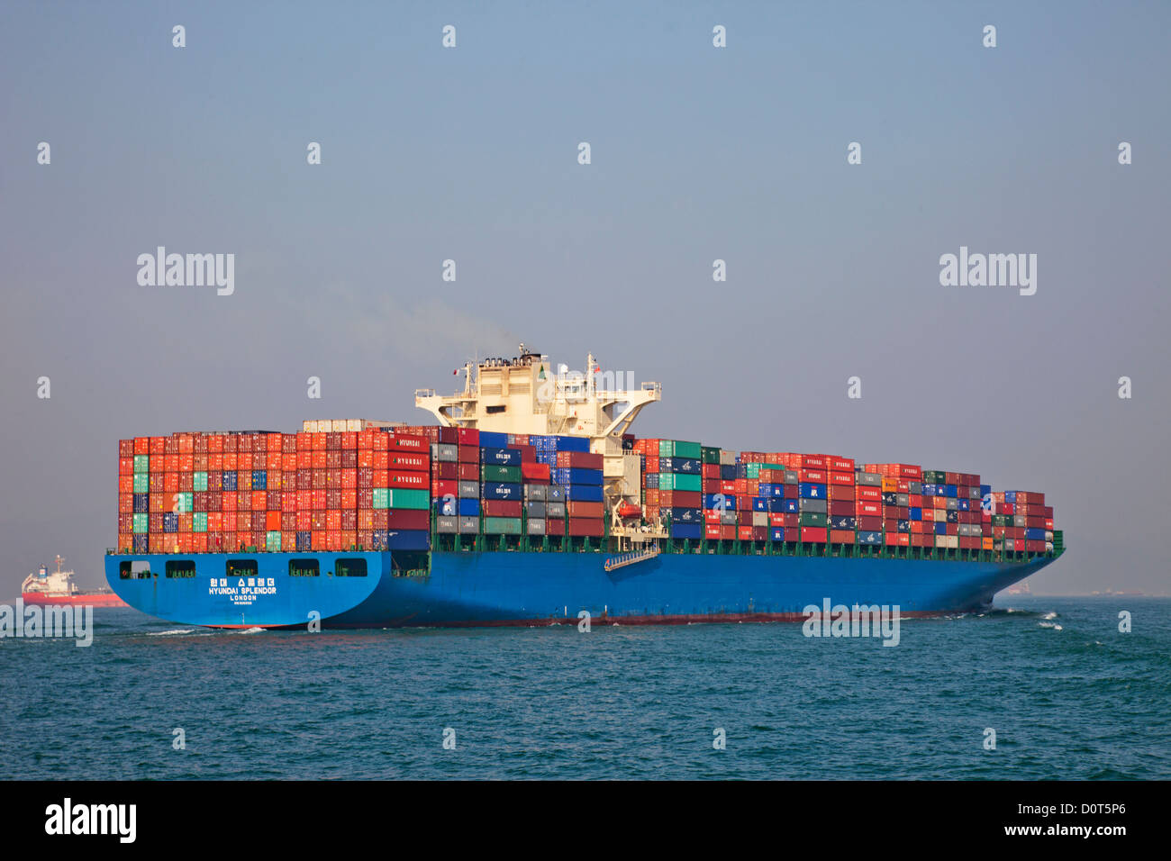 Asia, China, Hong Kong, Container Ship, Ships, Shipping, Containers, Trade, Commerce, Cargo, Freight, Sea Cargo, - Stock Image