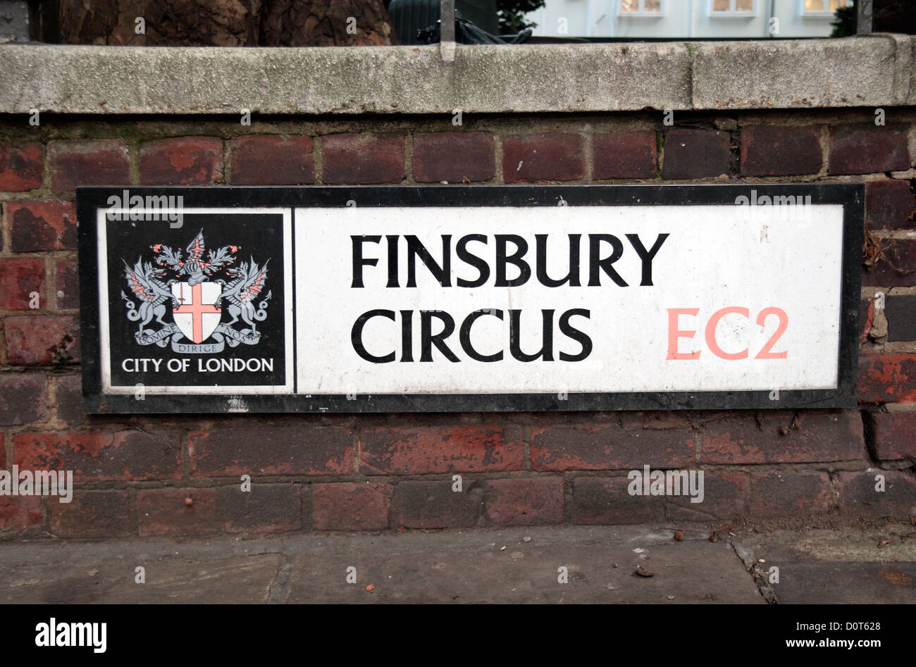Street sign for Finsbury Circus, London EC2. - Stock Image