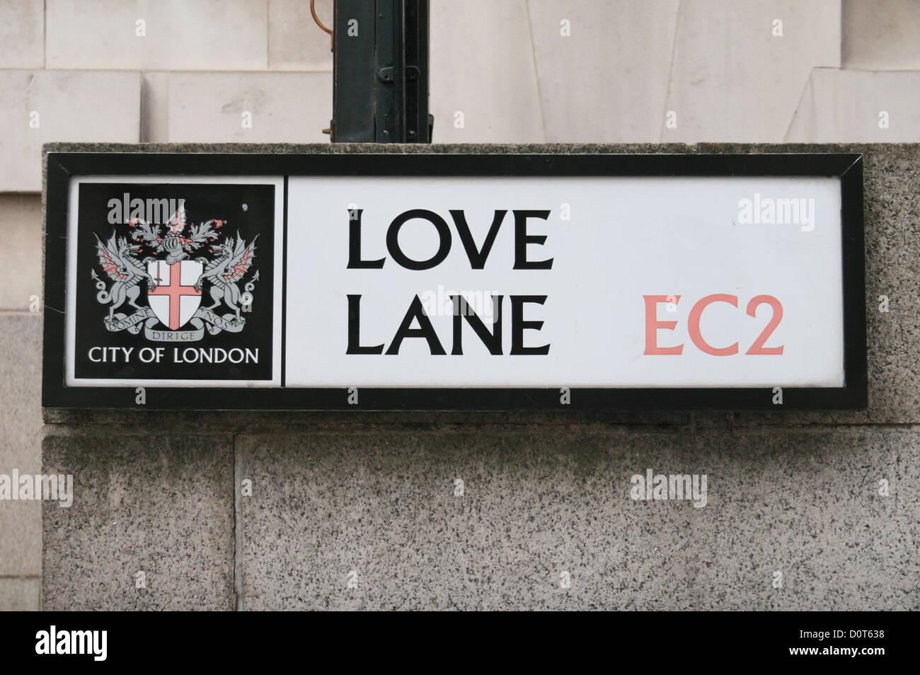Road sign for Love Lane, City of London, EC2, UK. - Stock Image