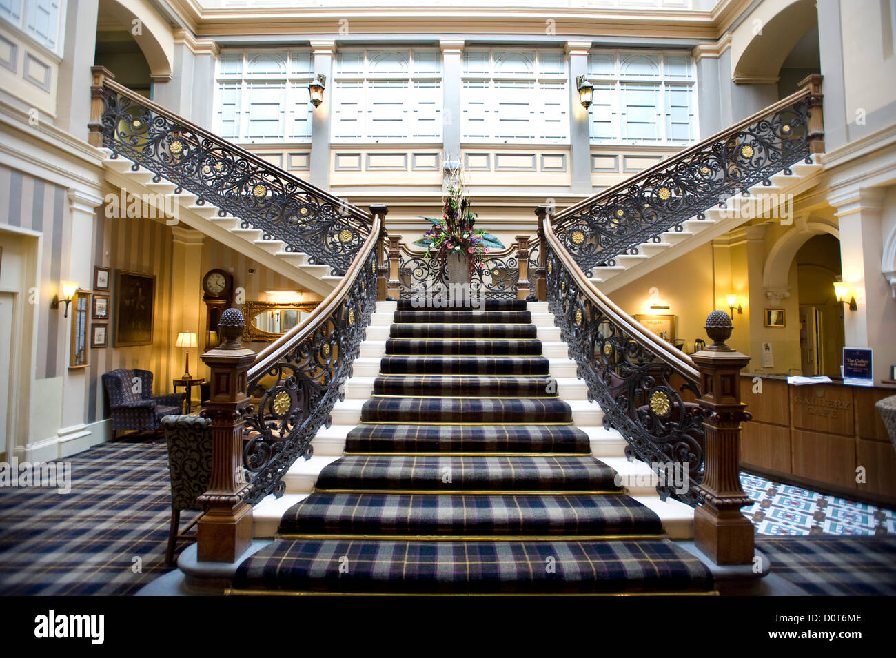 The Grand staircase in the Highland Railway's 'Station Hotel' in Inverness, Scottish Highlands, Scotland, - Stock Image