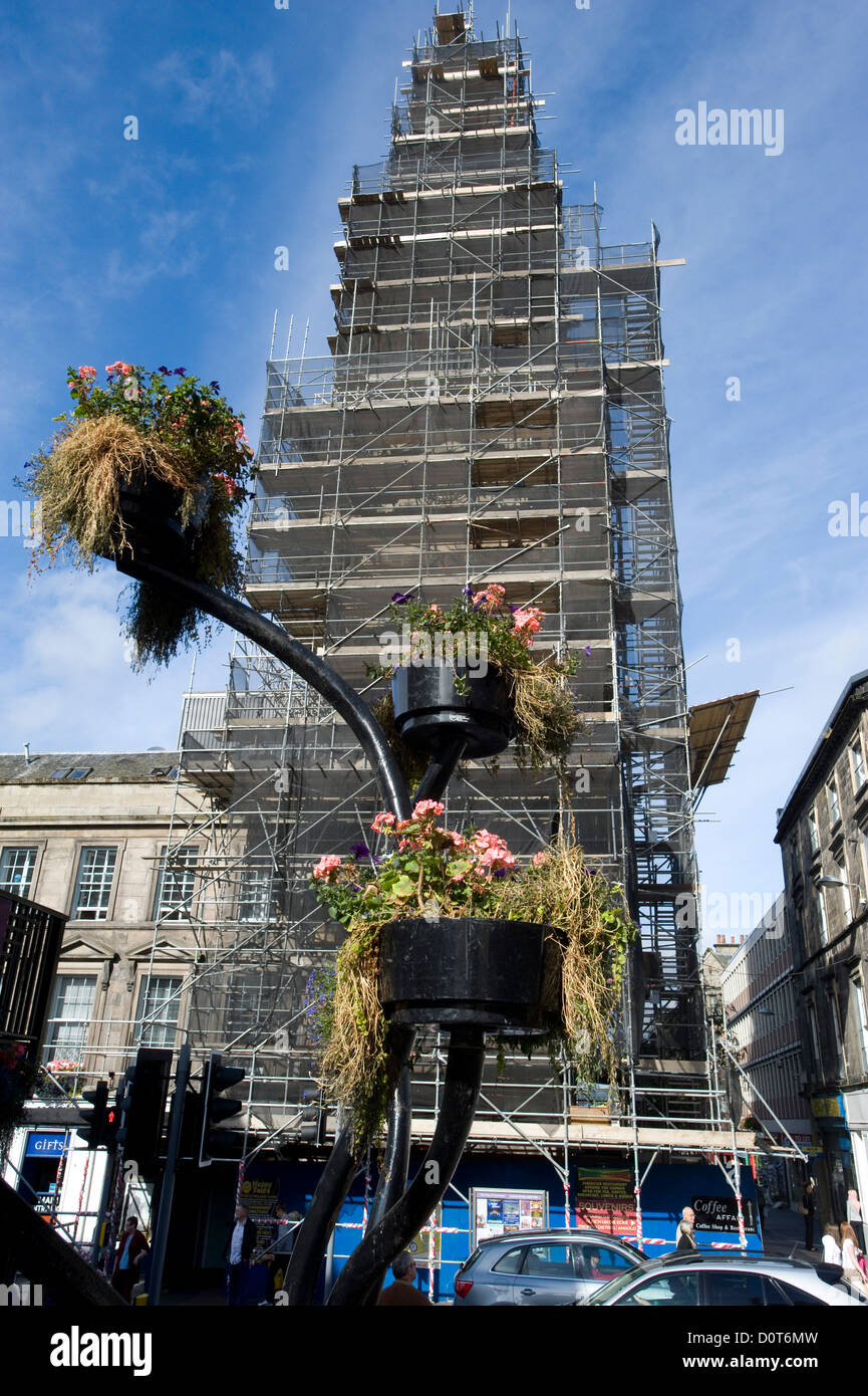 Scaffolding encloses the 1791 Town Steeple of Inverness, Scotland, during repairs to the historic landmark. - Stock Image