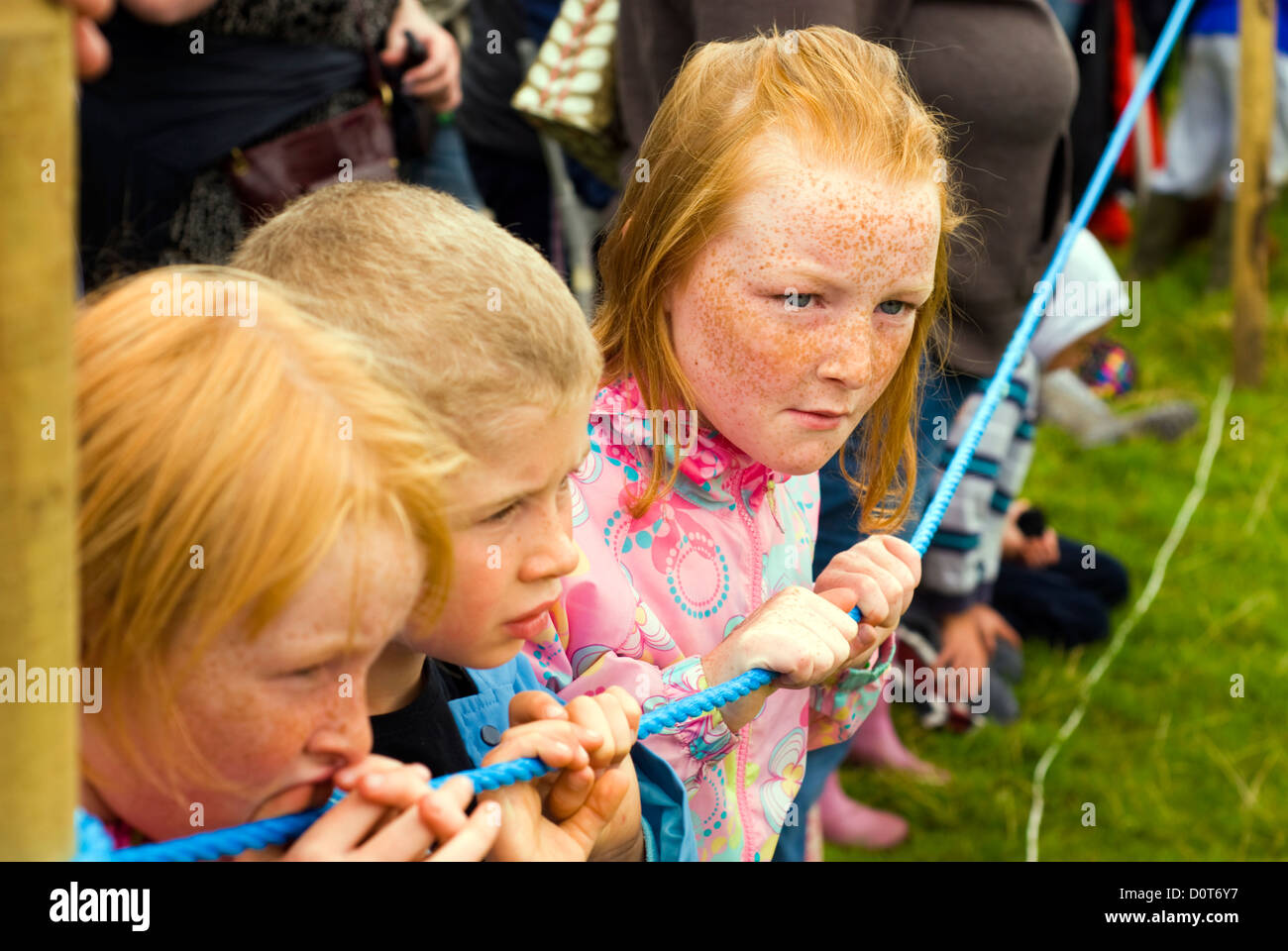 Irish children watching an agricultural show in Donegal - Stock Image