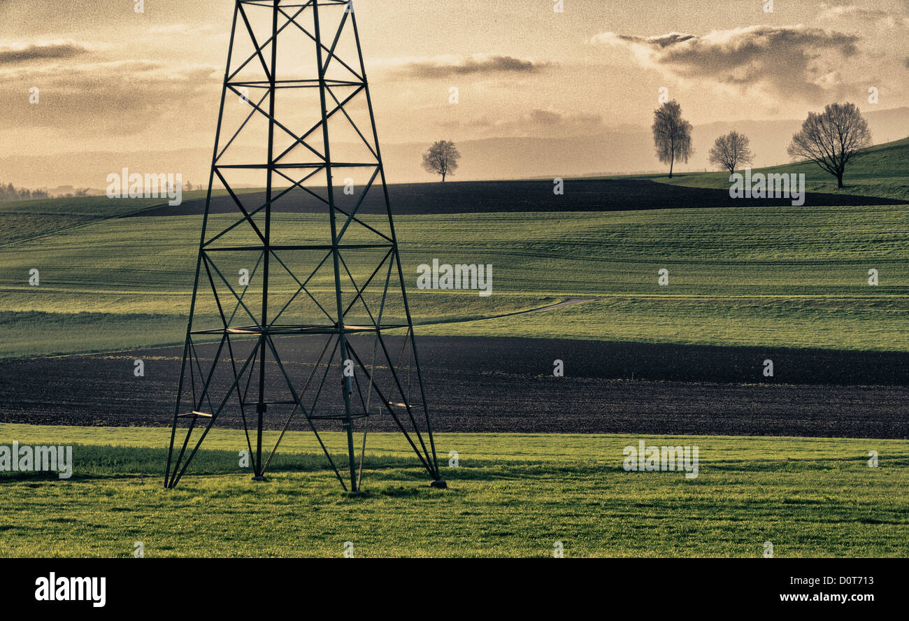 Field, electricity, energy policy, fields, power line, canton Bern, man-made, cultural, landscape, scenery, agriculture, - Stock Image