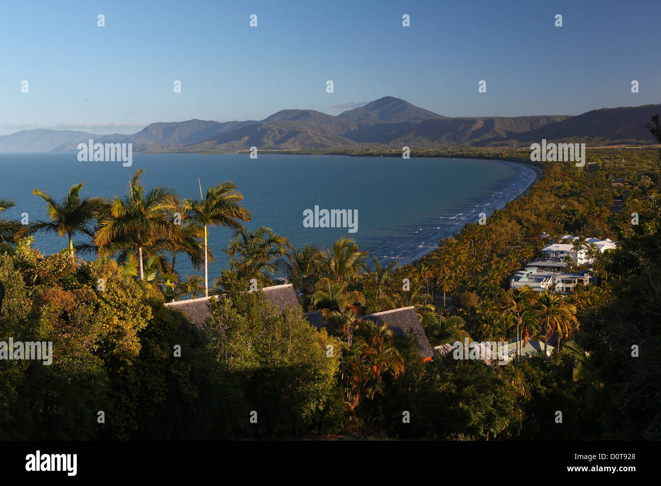 Flagstaff Hill, hill, view, port Douglas, Queensland, Australia, palms, sun, blue sky, sea, afternoon, Four Mile - Stock Image
