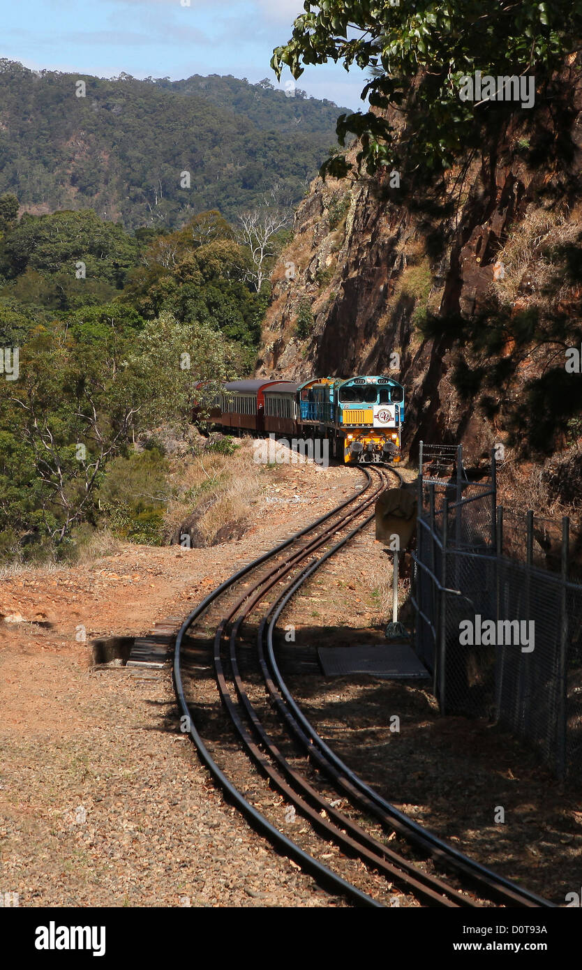 Kuranda Scenic Railway, train, feature, road, railway, historical, tourism, Attraktion, railroad, locomotive, railroad - Stock Image
