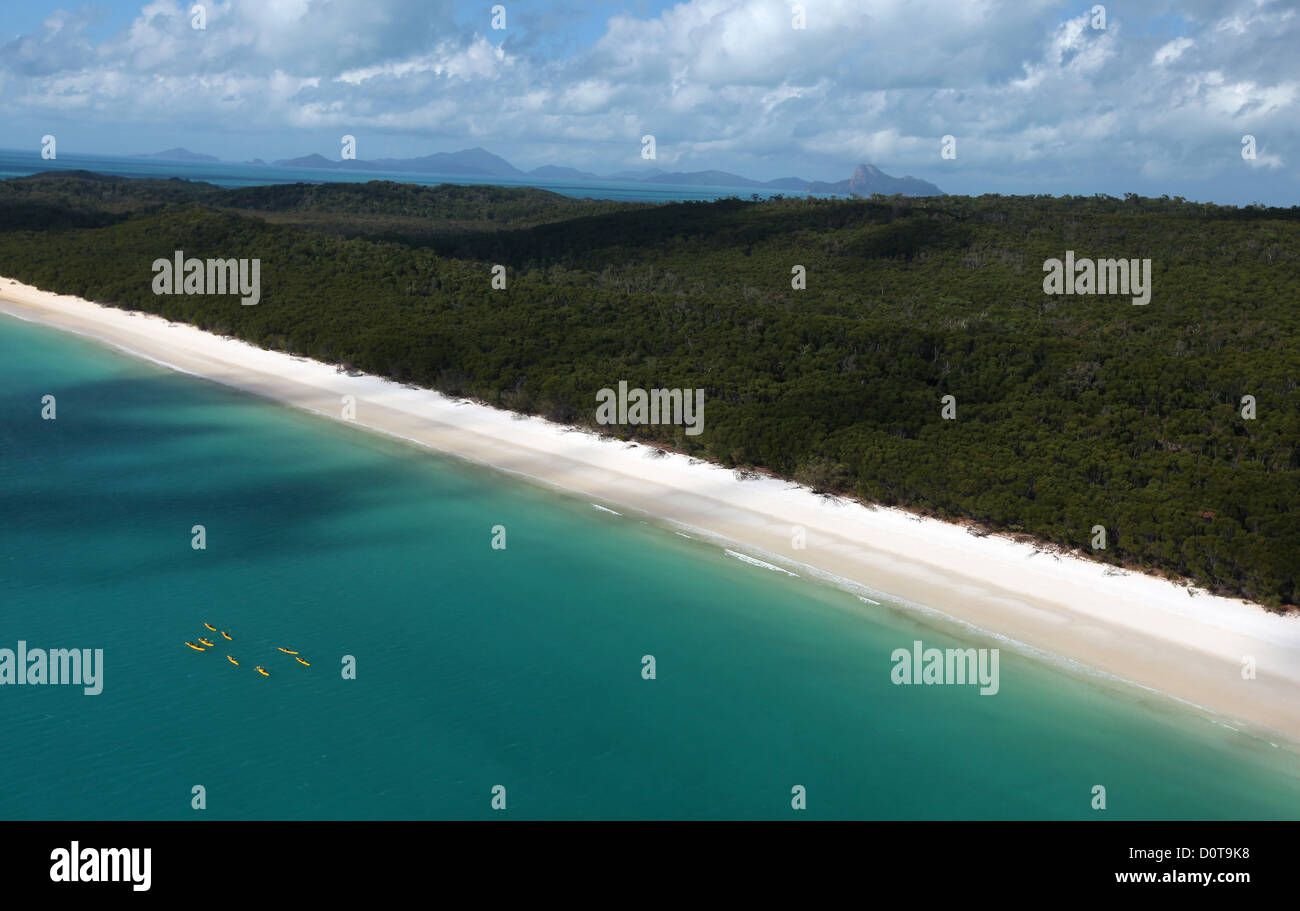 snow-white, Whitehaven Beach, seashore, sand, dream beach, Whitsunday Island, main island, unoccupied, nature, helicopters, - Stock Image