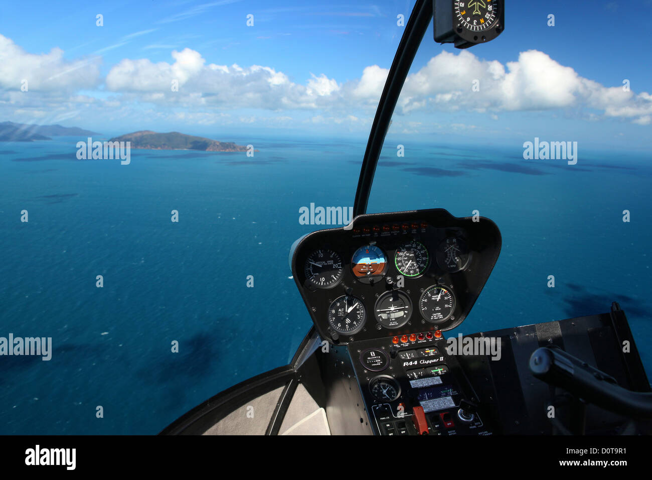 Nature helicopter Queensland Australia flight Whitsunday Islands from above flight fly swim Shute Harbour coral - Stock Image