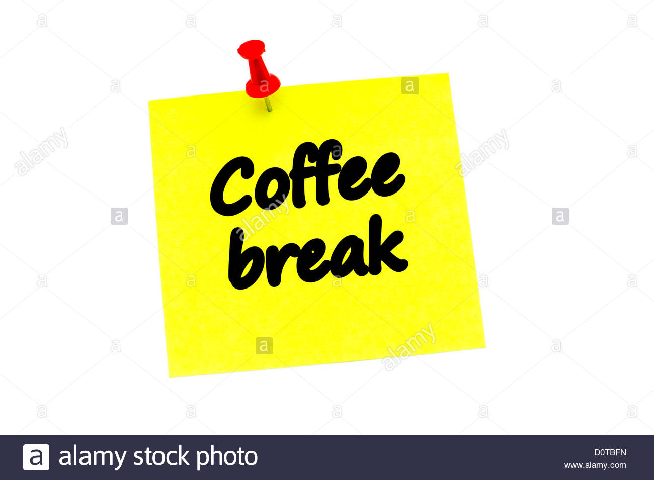 Coffee break written on a yellow post it note, held in place with a red push pin and isolated on a white background. - Stock Image