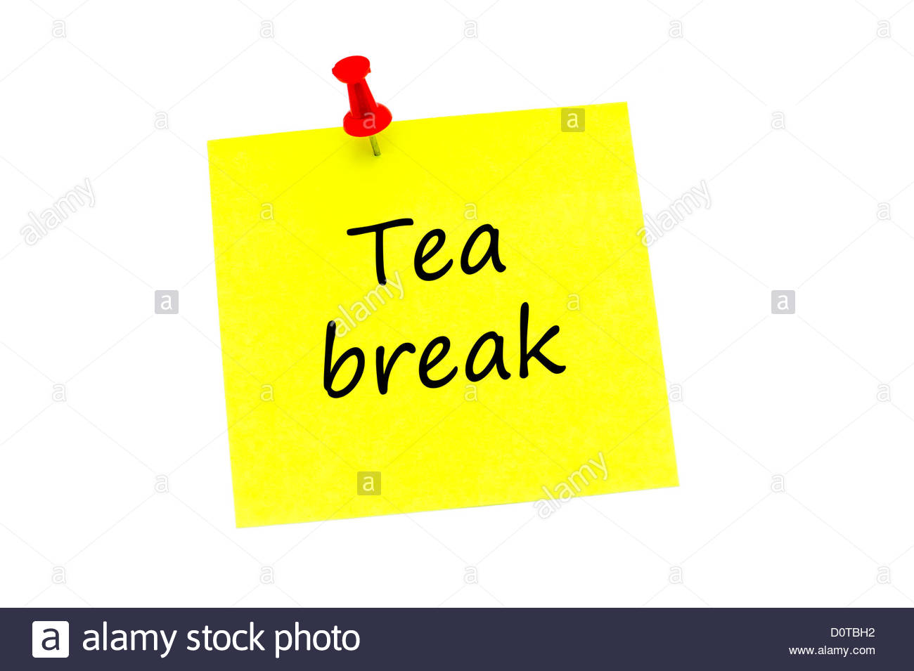 Tea break written on a yellow post it note, held in place with a red push pin and isolated on a white background. - Stock Image