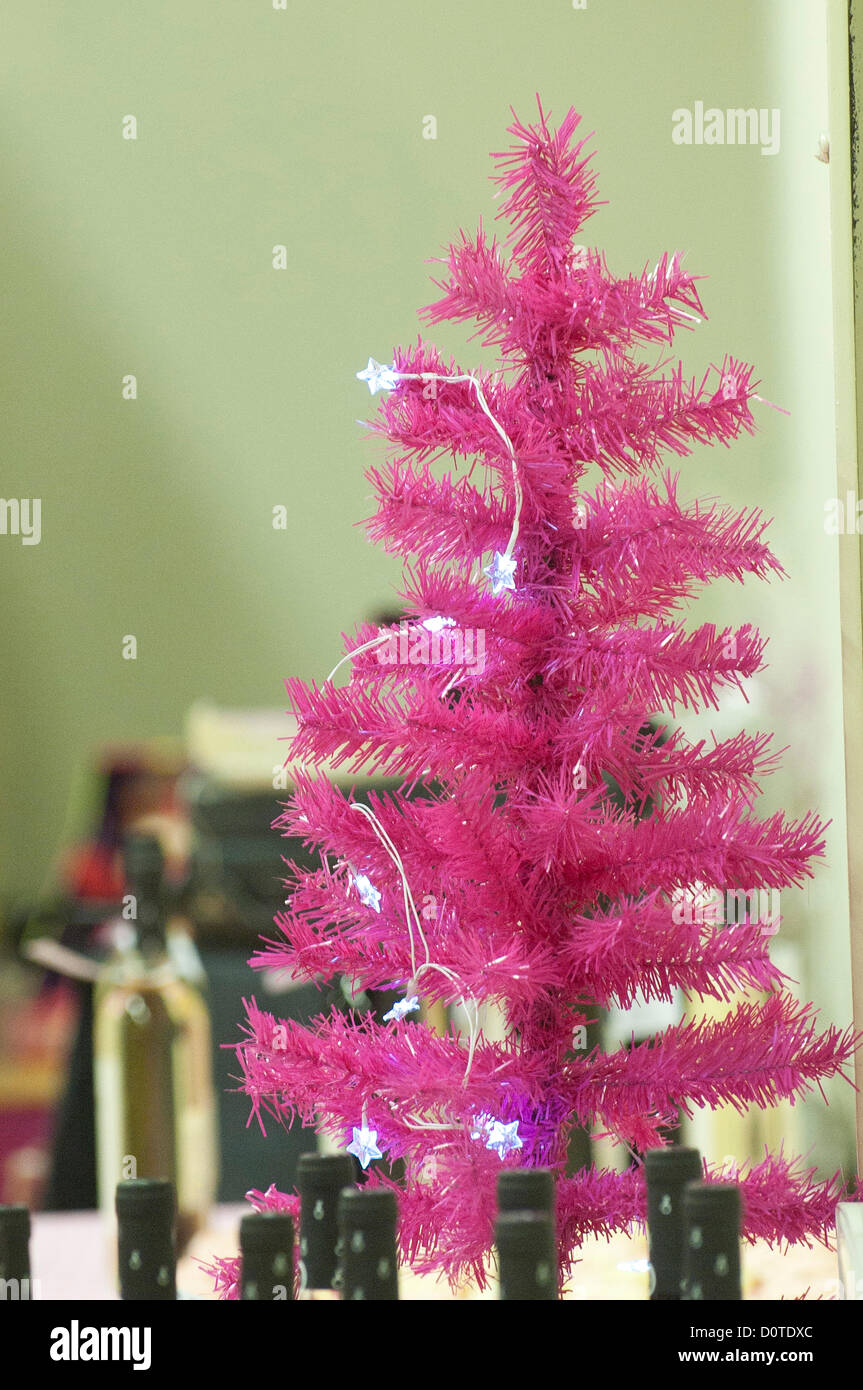30th November 2012 Machynlleth Wales Uk A Pink Christmas Tree At