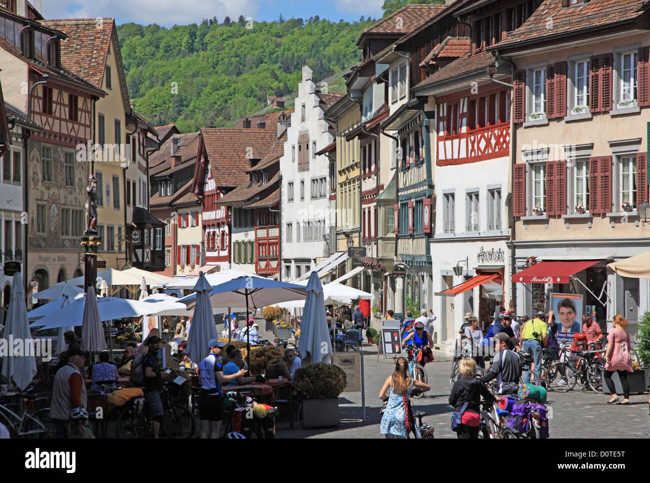 Travel, Geography, Architecture, Culture, Europe, Switzerland, Schaffhausen, Stein am Rhein, Town, People, Horizontal Stock Photo