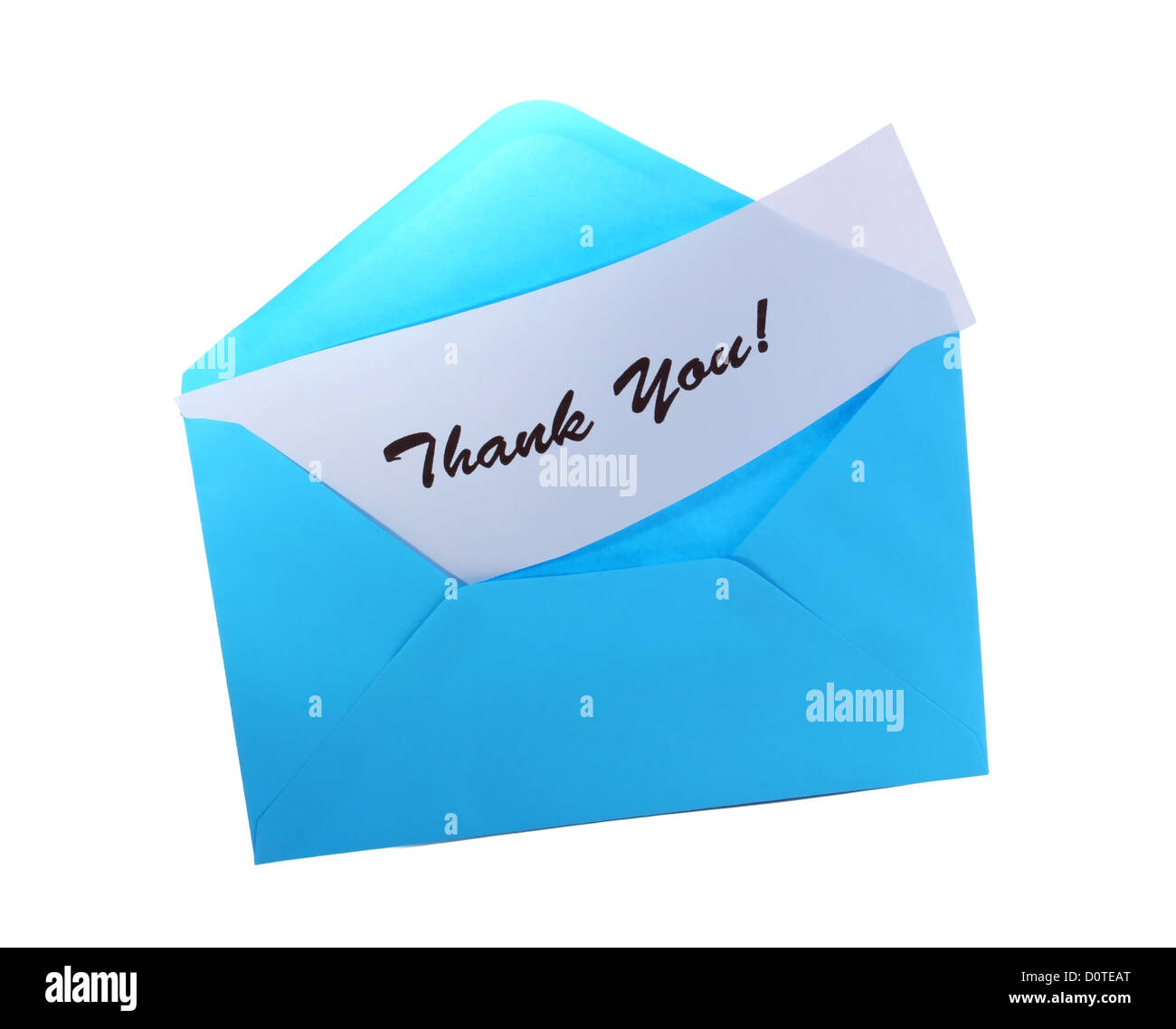 Blue envelope with text: Thank you, isolated on white - Stock Image