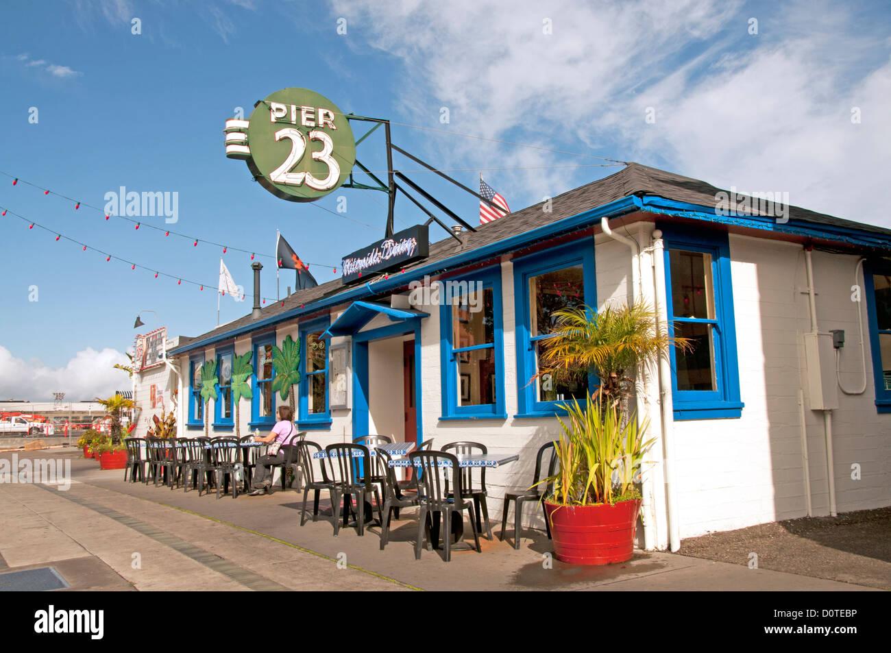 Pier 23 restaurant exterior - Stock Image