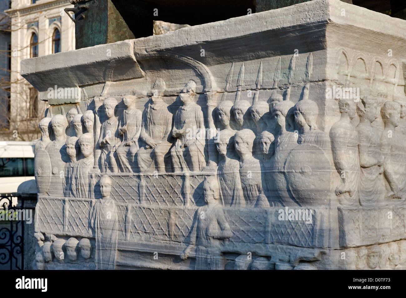 Base of obelisk in Sultanahmet Istanbul Turkey - Stock Image