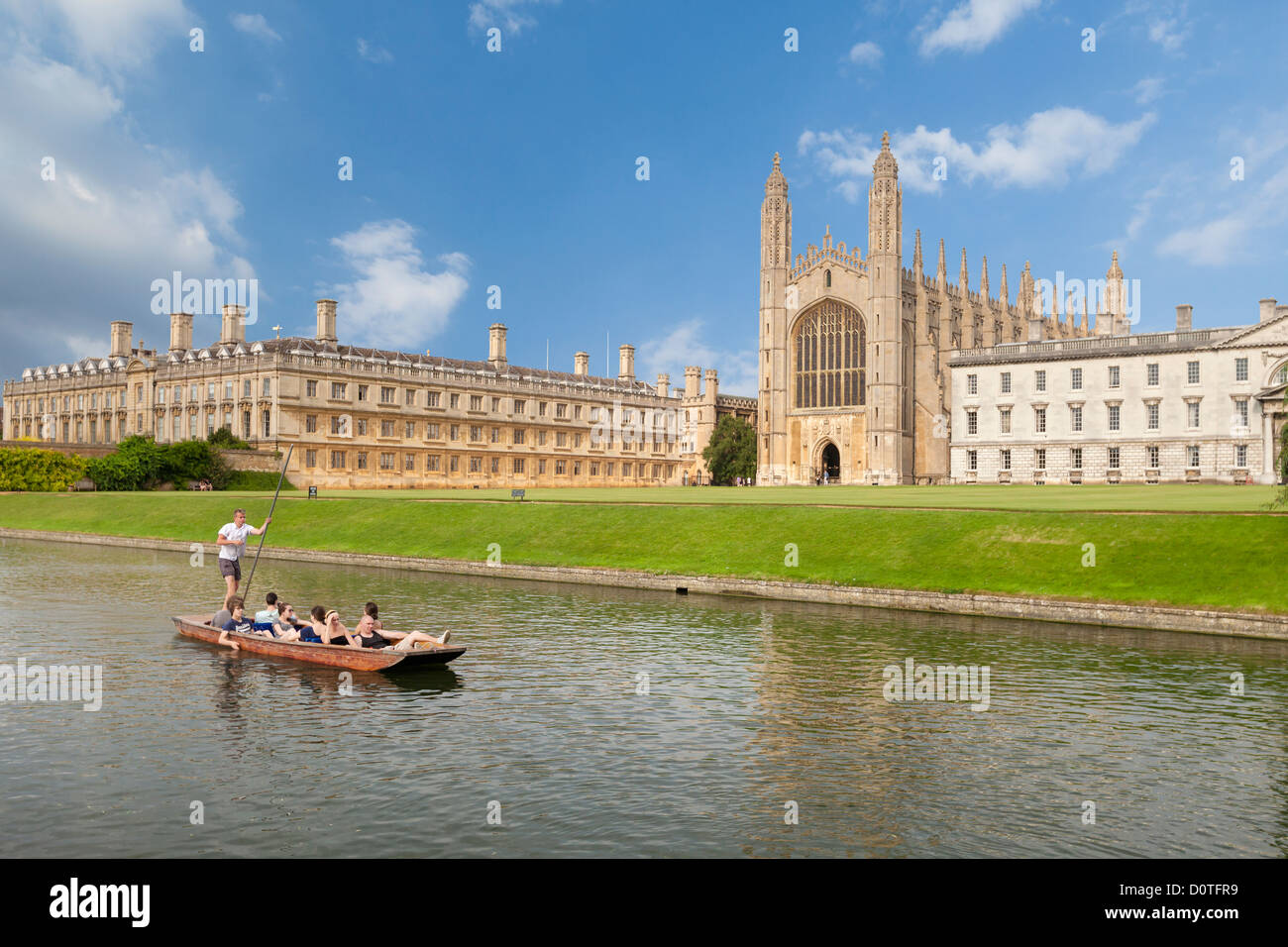 Punts on the river Cam at King's college in Cambridge, England - Stock Image