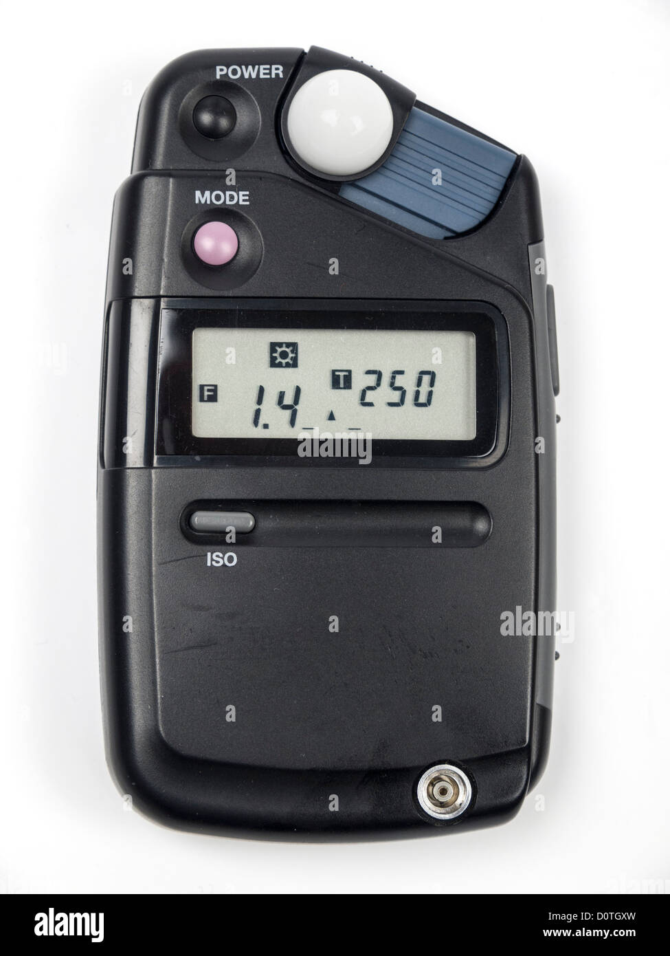 Photographic equipment light and flash meter isolated on white background - Stock Image