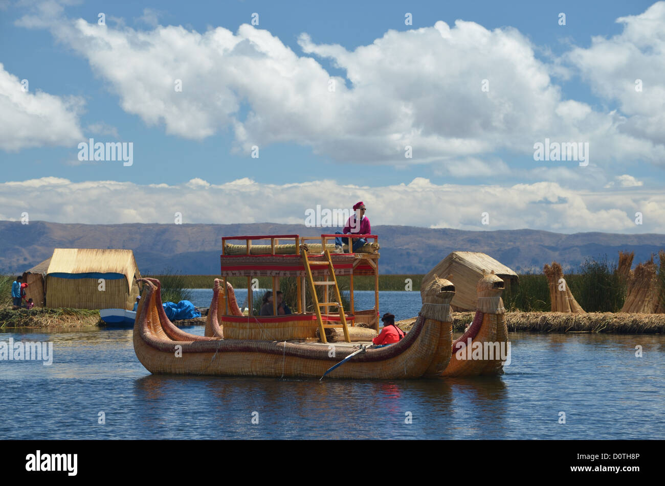 Traditional Tortora reed boat on Lake Titicaca, Peru Stock Photo