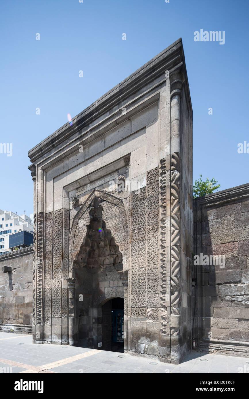 entrance portal, Sahibiye madrasa, Kayseri, Anatolia, Turkey - Stock Image