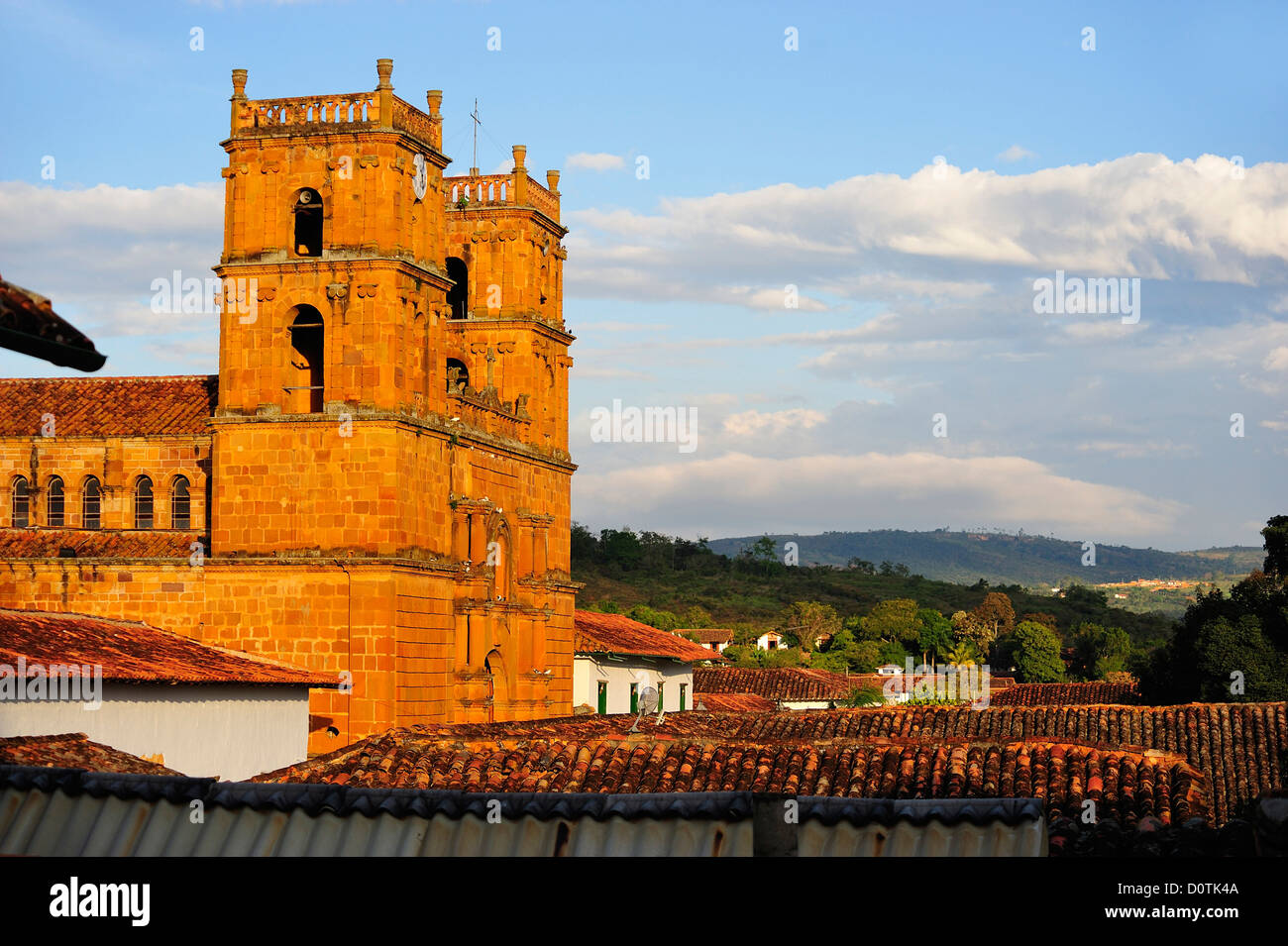 Templo, church, brick building, colonial, Town, Barichara, Colombia, South America - Stock Image