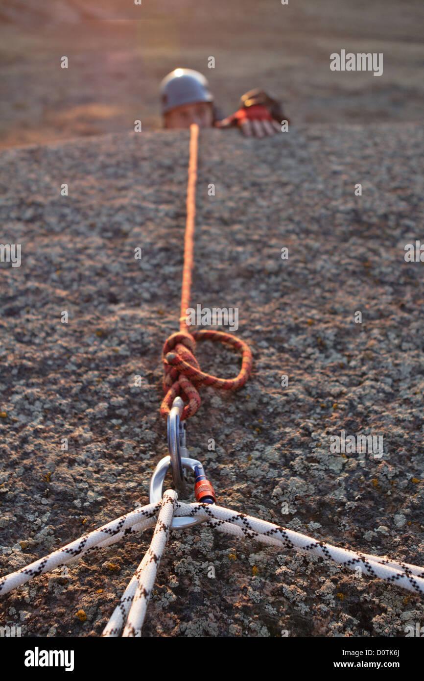 Kinetic base in rock climbing - Stock Image