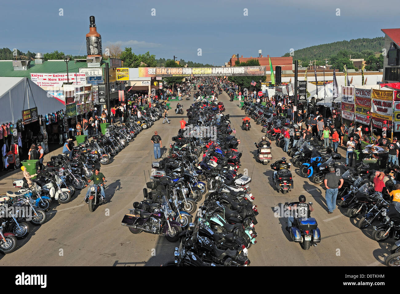 Bikes, bike, crowded, street, Harley, Harley Davidson, Motorcycle, Rally, downtown, Sturgis, South Dakota, USA, - Stock Image