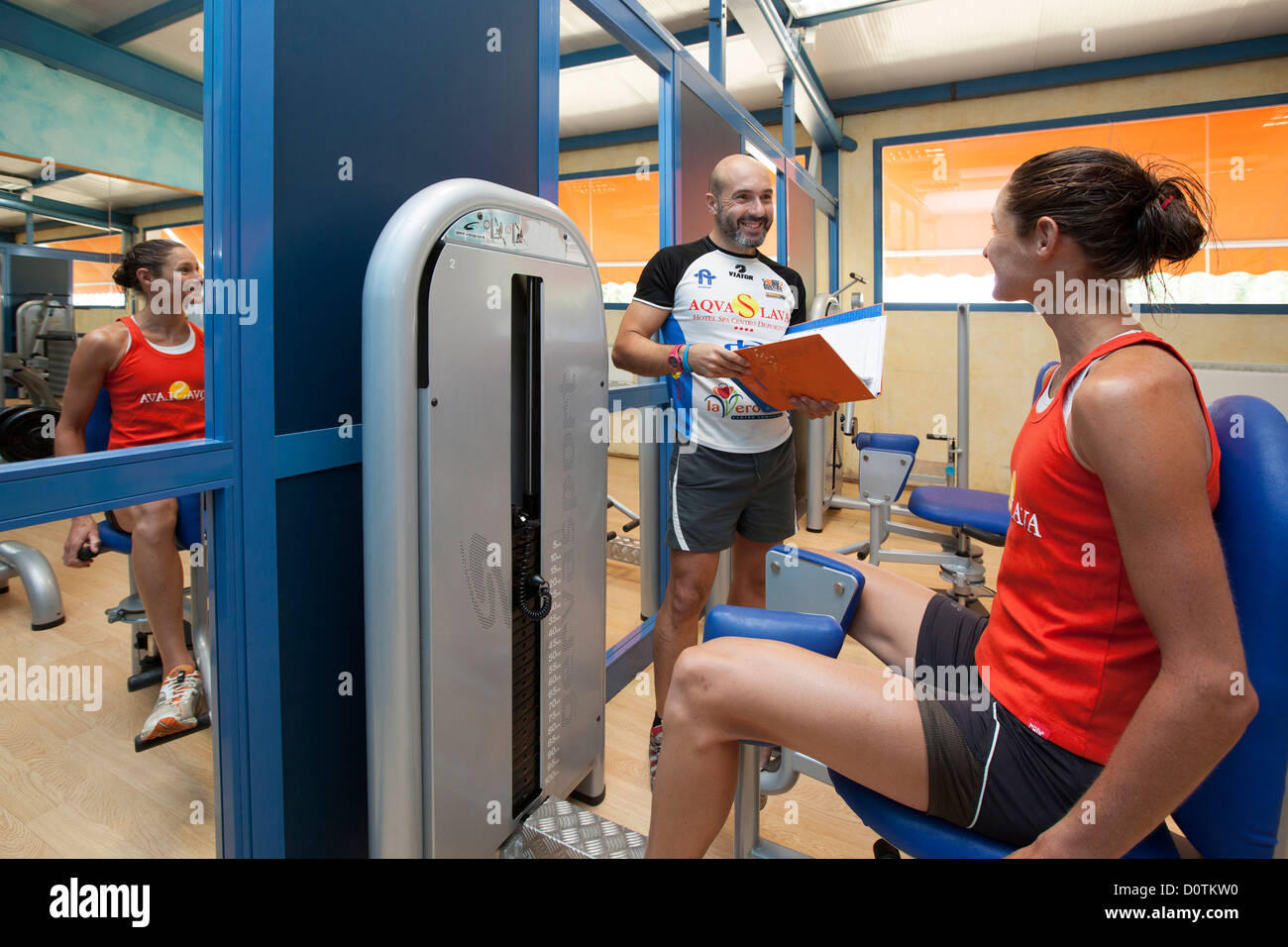 Young lady in a gym Hotel Finca Eslava Antequera Malaga Andalusia Spain - Stock Image