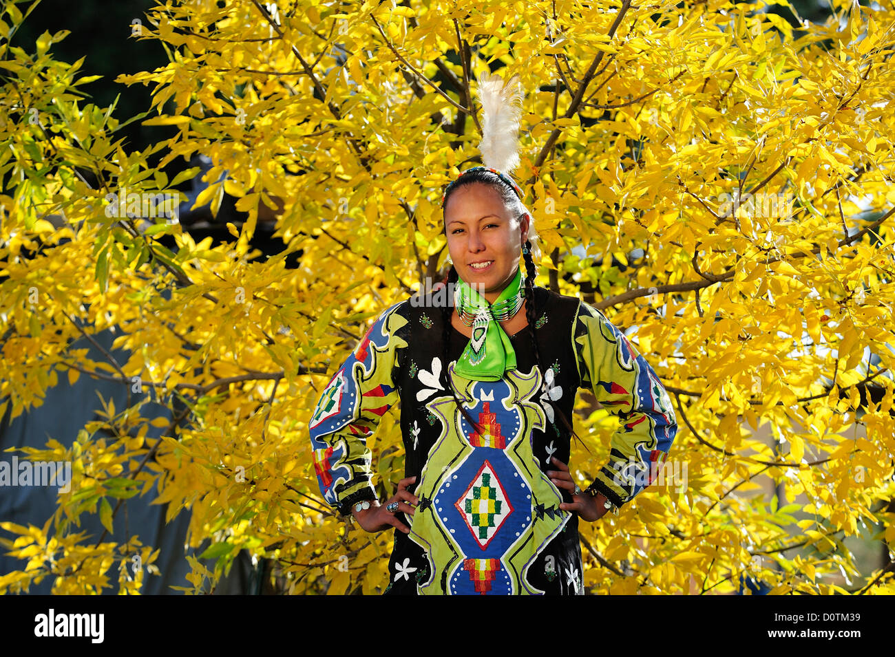 Jasmine Pickner, Oglala, Lakota, Sioux, Rapid City, South Dakota, native indian, indian, costume, feathers, model - Stock Image