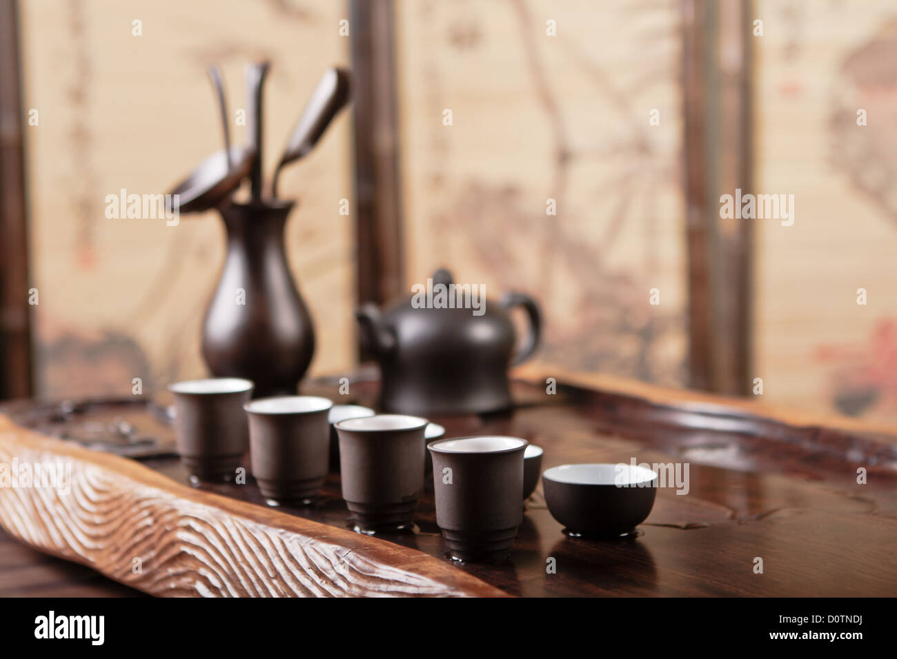 Teapot, cups and tea things - Stock Image