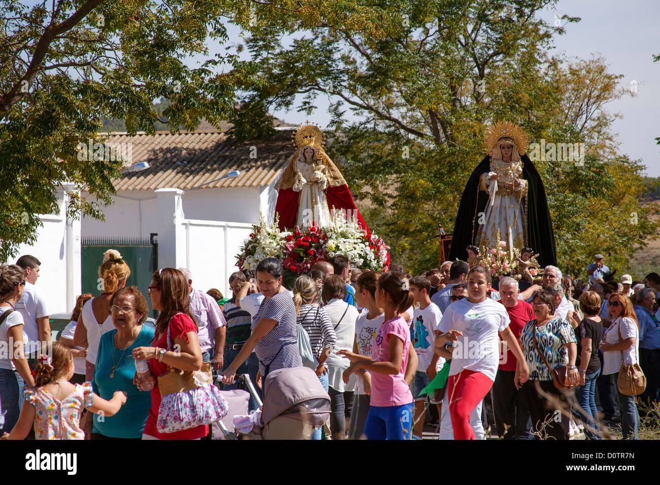 Traditional procession Virgen del Rosario in the village of Peñarrubia Malaga Andalusia Spain - Stock Image