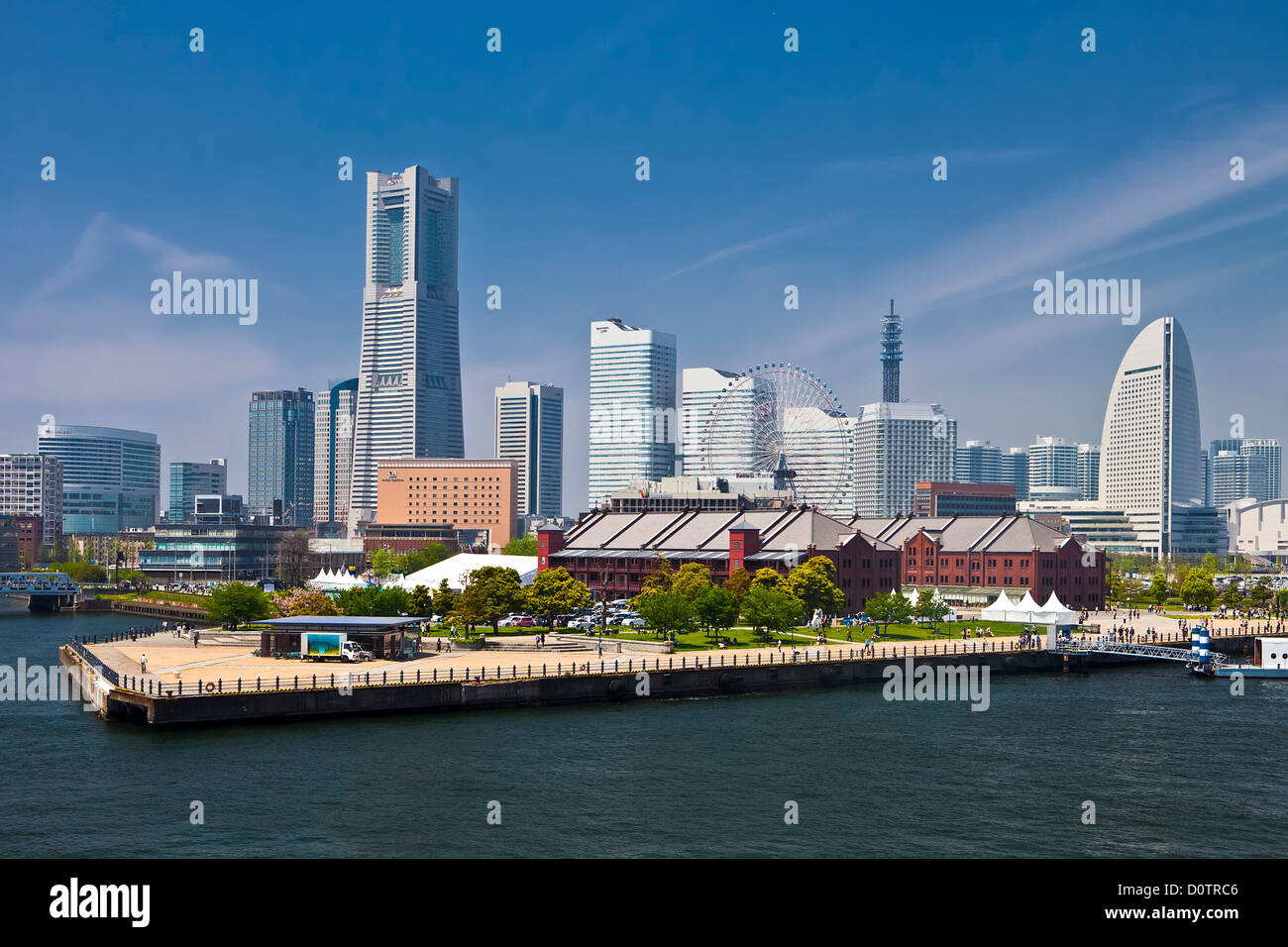 Japan, Asia, holiday, travel, Yokohama, City, Yokohama skyline, Landmark, Building, harbour, port - Stock Image
