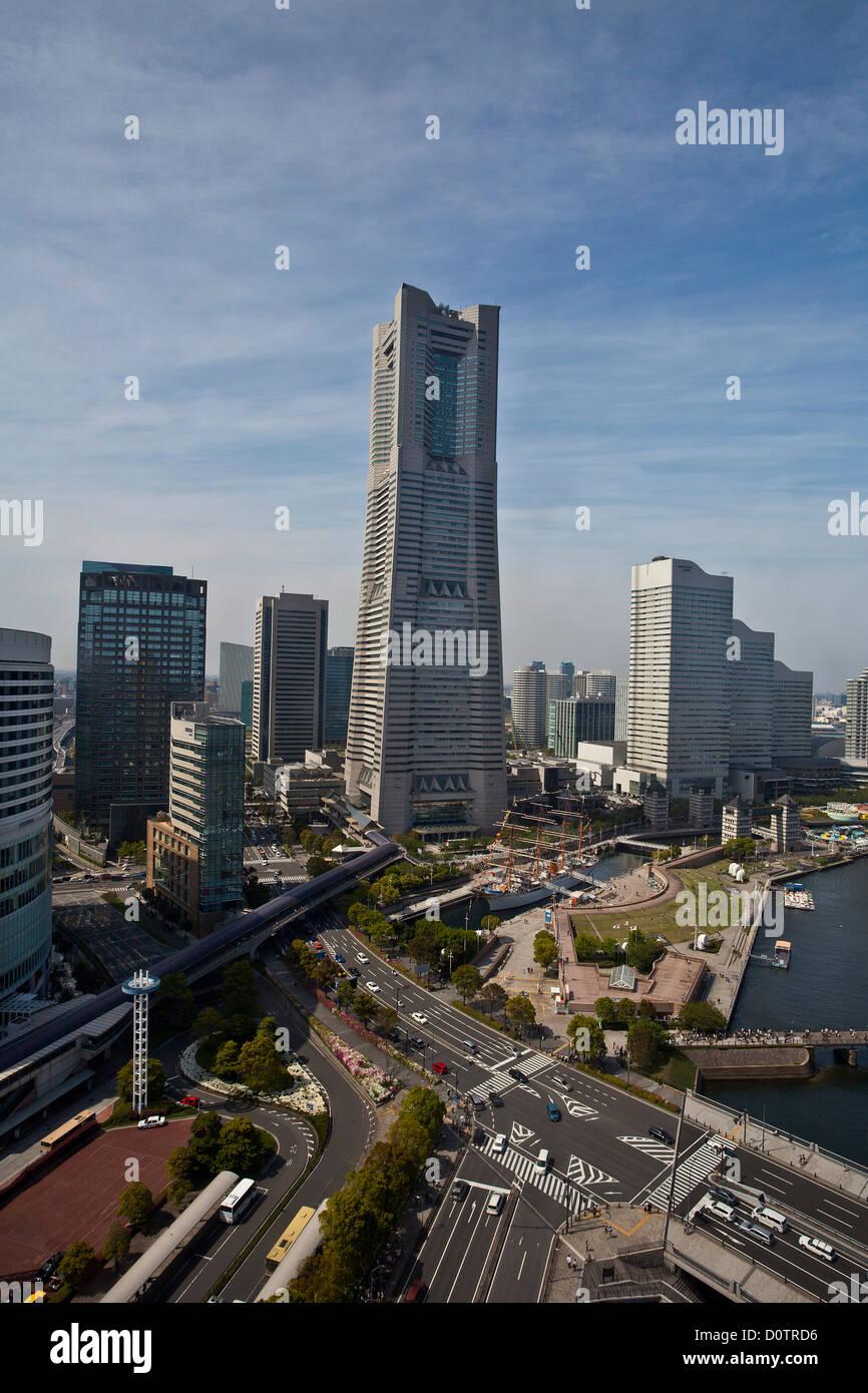 Japan, Asia, holiday, travel, Yokohama, City, skyline, Landmark, Building, harbour, skyline, - Stock Image