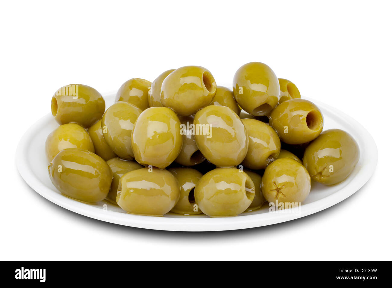 Pickled pitted green olives - Stock Image