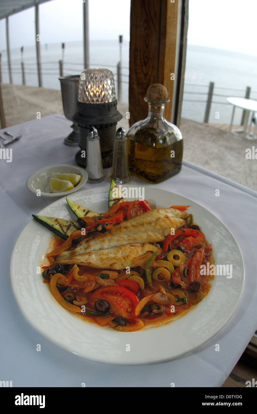 Grilled Redfish Veracruz At A Seafood Restaurant In South