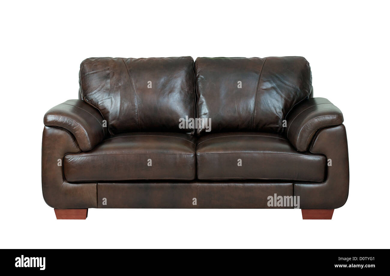 - Luxurious Of The Dark Brown Leather Sofa Bench Isolated On White