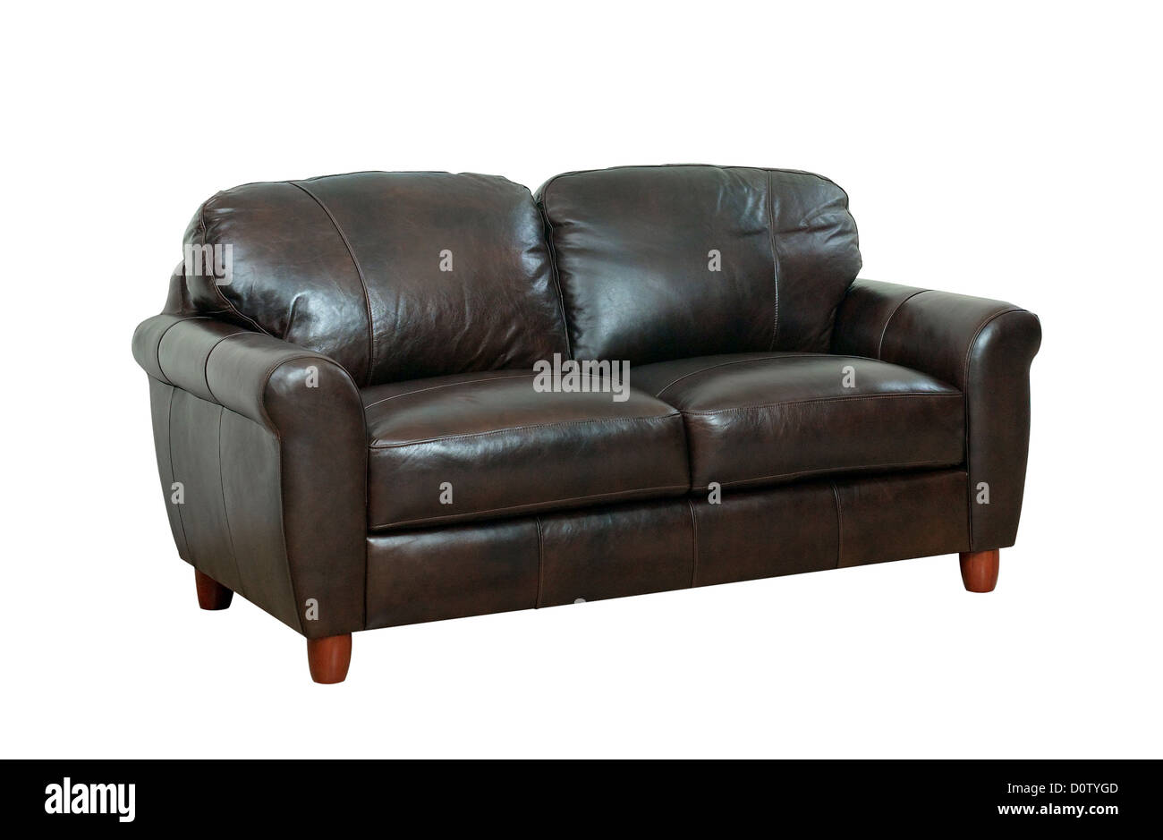 luxurious of the dark brown leather sofa best for luxury hotels or homes - Stock Image