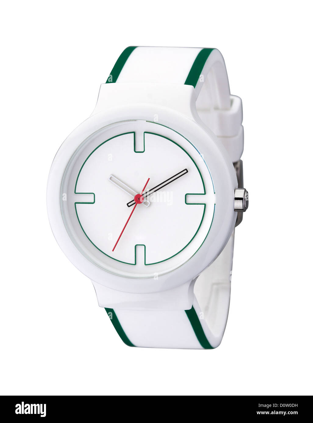White and nice wristwatch simply but beautiful isolated - Stock Image