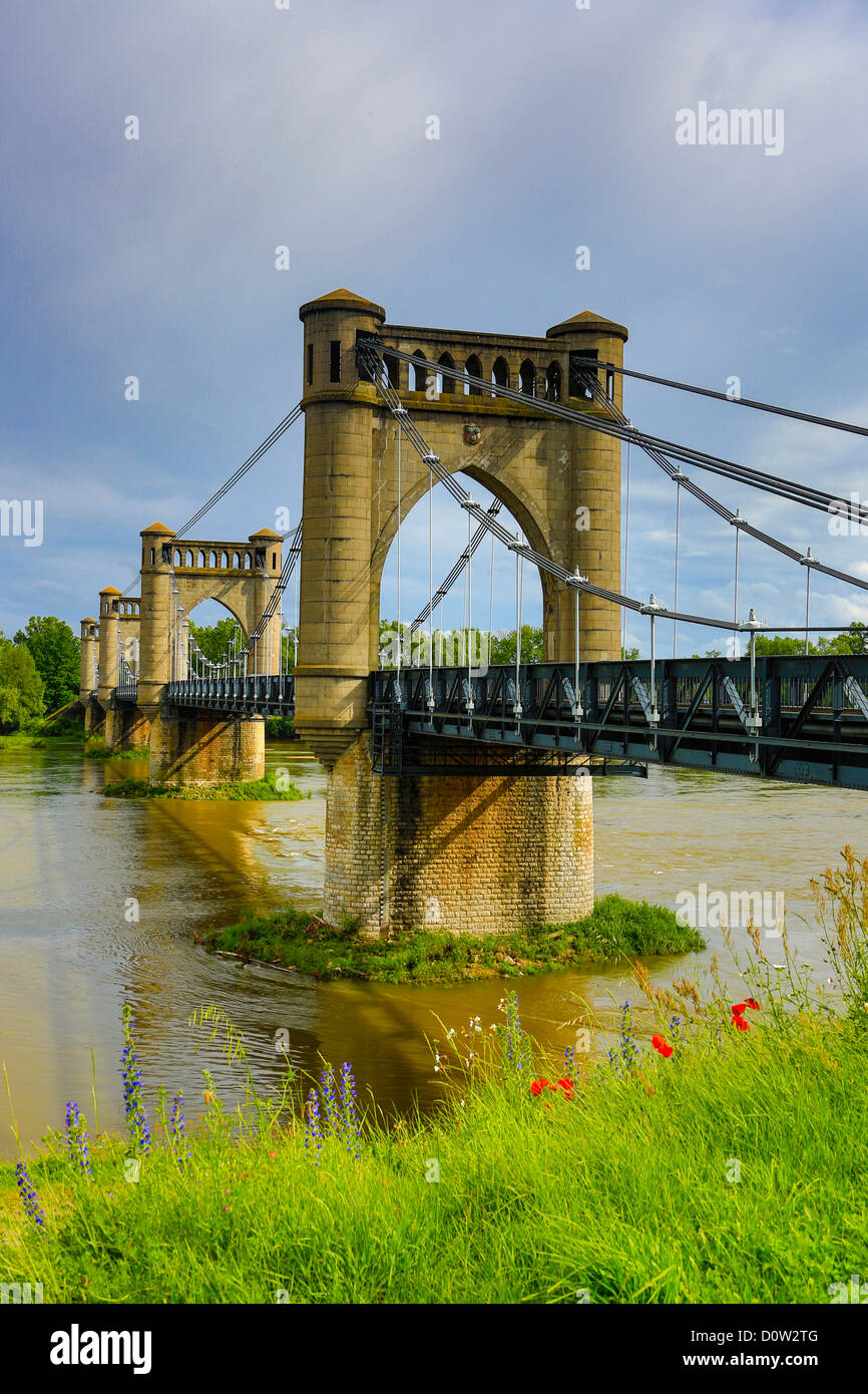 France, Europe, travel, Loire Valley, Langeais, Bridge, Loire, river, architecture, artistic, four, history, old, - Stock Image