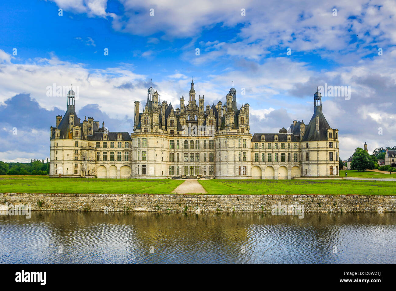 France, Europe, travel, Loire Valley, Chambord, architecture, big, castle, clouds, cloudy, history, Loire, medieval, - Stock Image