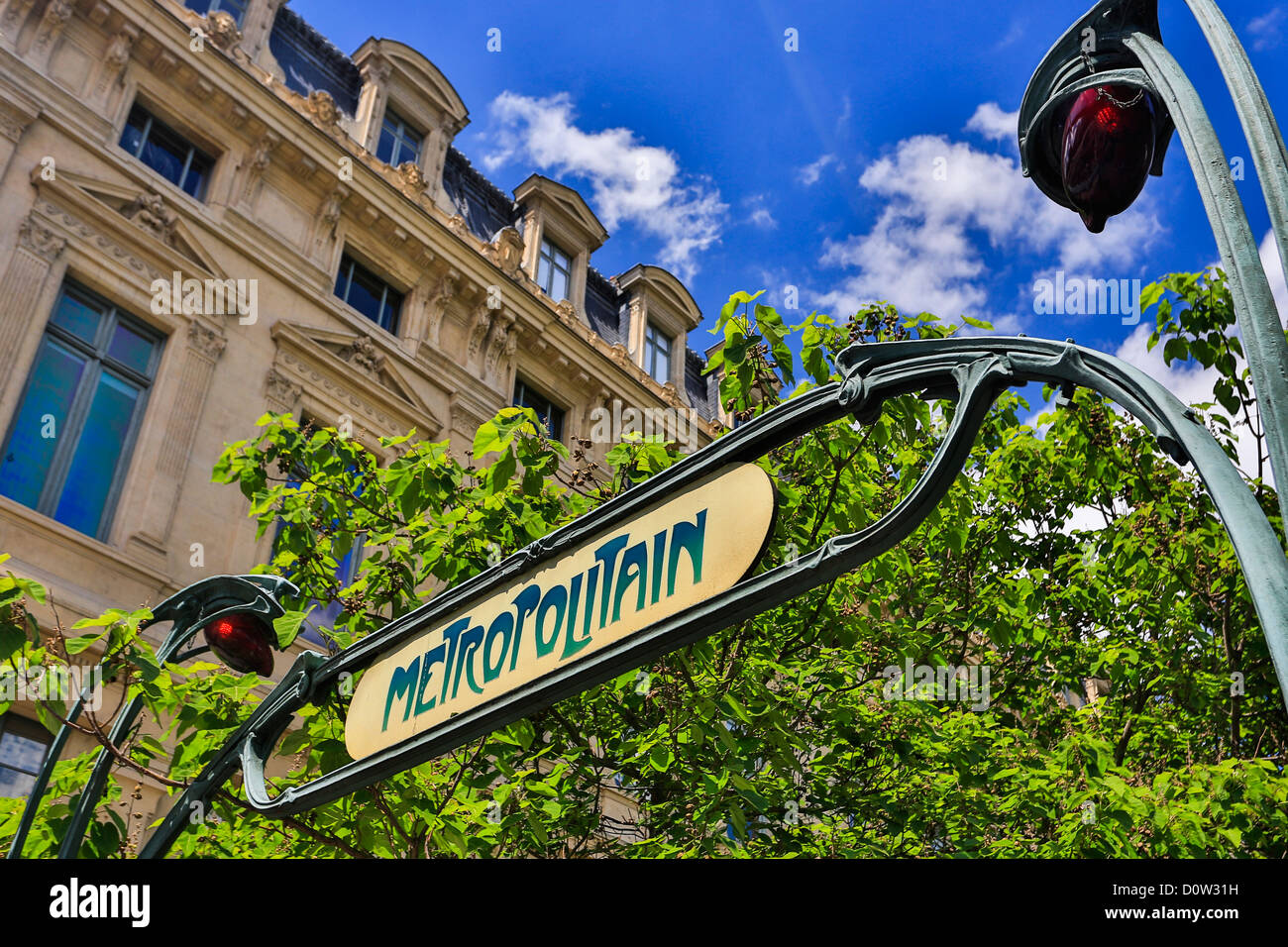 France, Europe, travel, Paris, City, Metro, subway, Station, art nouveau, entrance, lamp, metropolitain, old, sign, - Stock Image