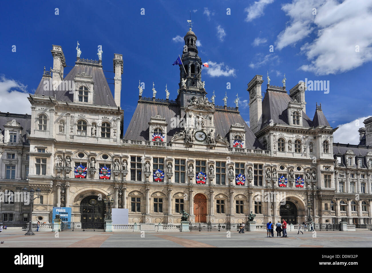 France, Europe, travel, Paris, City, City Hall, architecture, building, flags, government, roof, square - Stock Image